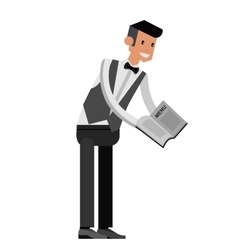 Detailed characters young handsome waiter vector