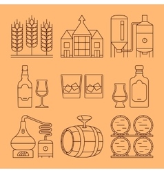 Whisky line icons set process and industry vector