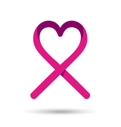 Breast cancer awareness love ribbon in pink color vector image