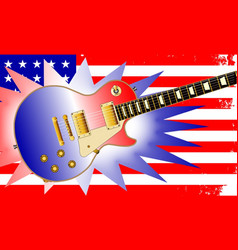 American guitar and flag vector