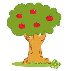 Apple Tree Covered With Red Apples vector image vector image
