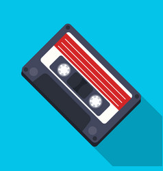 Audio cassette icon in flat style isolated on vector