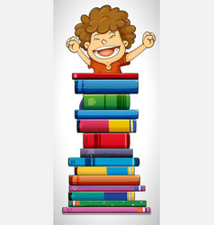 boy and stack of books vector image vector image