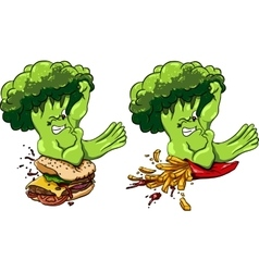 Broccoli vs burger and french fries healthy food vector