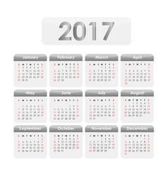 calendar 2017 grey vector image vector image