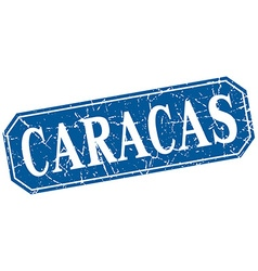 Caracas blue square grunge retro style sign vector
