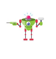 Cartoon cute flat robot icon vector