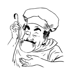 Chef tastes food line art vector