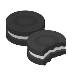 Chocolate sandwich cookies icon in monochrome vector