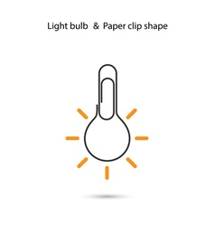 Creative light bulb logo designpaper clip sign vector