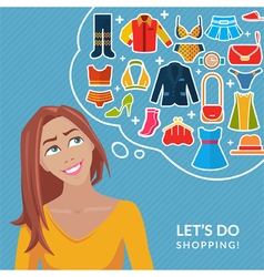 Cute young girl and thought bubble with clothes vector