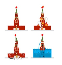 Destruction of Moscow Kremlin Meteorite flies vector image vector image