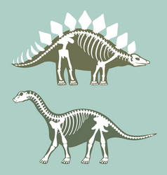 dinosaurs skeletons silhouettes set fossil bone vector image
