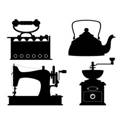 domestic appliances old retro vintage set icons vector image