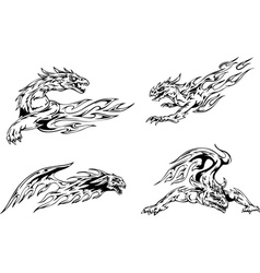 Dragon tattoos with flames vector