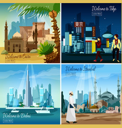 Eastern touristic cityscapes vector