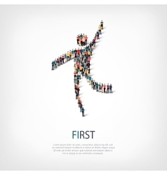 First people sign 3d vector