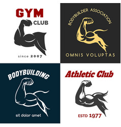 Fitness center logo set vector