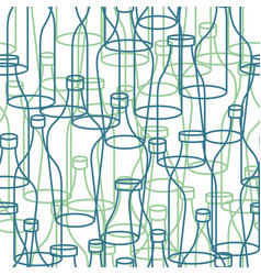 Glass bottle seamless pattern empty transparent vector