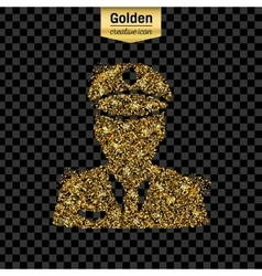 Gold glitter icon of police isolated on vector