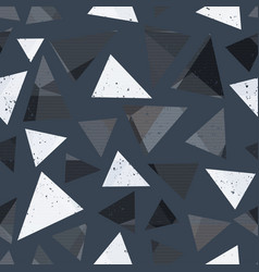 gray triangle seamless pattern with grunge effect vector image vector image