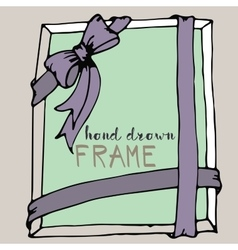 Hand drawn frame pink and green bow and ribbon vector