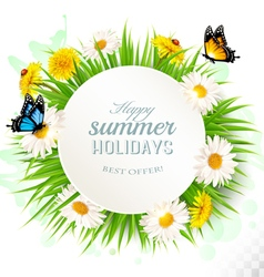 Happy summer holidays background with poppies vector image vector image