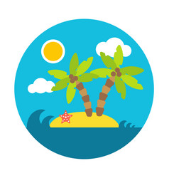 holiday summer island flat circle style vector image
