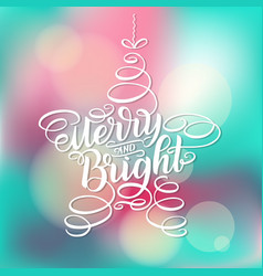 merry and bright new year lettering in form of vector image