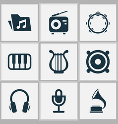 Music icons set collection of phonograph vector