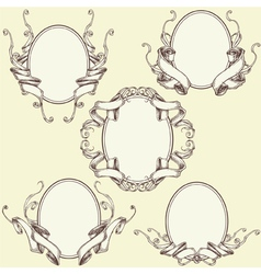 Ribbon Frame Border Ornaments Set 03 vector image