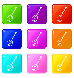 Saz turkish music instrument icons 9 set vector