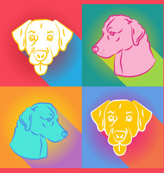 set of dogs silhouette over comic pop art vector image vector image