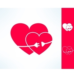 Set of two hearts with electric line with vector