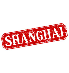 Shanghai red square grunge retro style sign vector