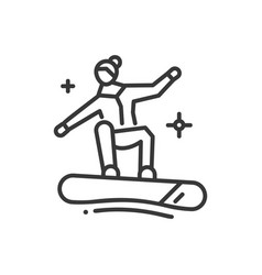 snowboarding - line design single isolated icon vector image vector image
