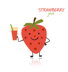 strawberry cute character for your design vector image