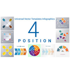 universal templates set infographics 4 positions vector image vector image