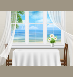 view from the window to the sea vector image vector image