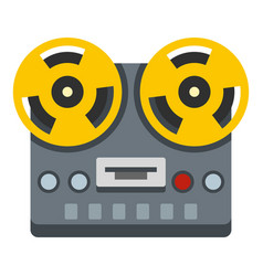 Vintage reel to reel tape recorder deck icon vector
