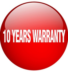 10 years warranty red round gel isolated push vector