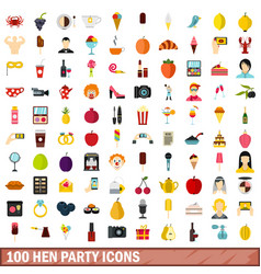 100 hen party icons set flat style vector