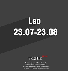 Leo zodiac symbol Flat modern web design with long vector image