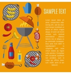 Barbecue grill poster design template vector