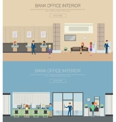 Bank interior or department with cashier vector
