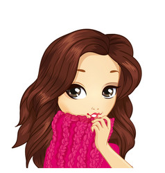 Portrait girl in pink sweater vector