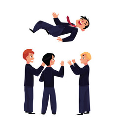 businessmen throwing their leader boss coworker vector image