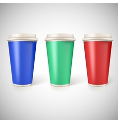 Disposable cups for coffee closeup with vector