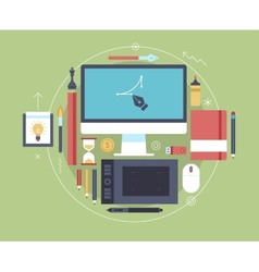 Flat design of modern creative designer workspace vector