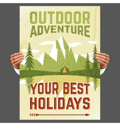 Outdoor adventure tourism poster vector image